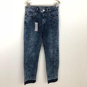 NWT Noisy May ASOS Acid Raw Hem Jeans Cropped 27